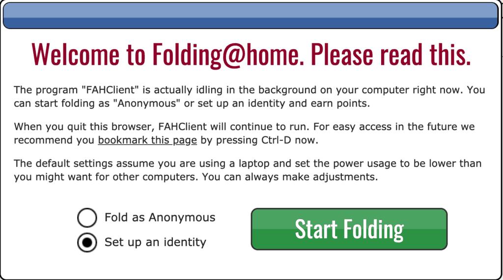 Folding@home: Die Anmeldung
