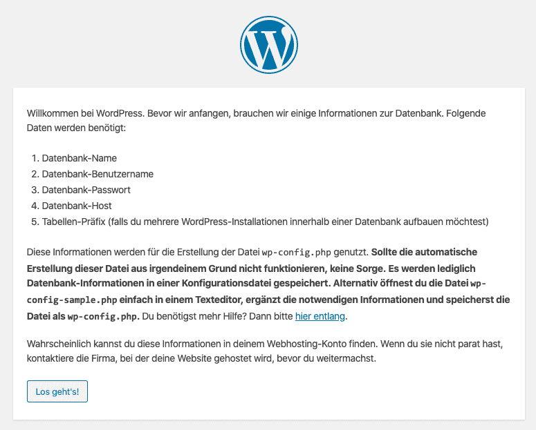 Wordpress Installieren 1